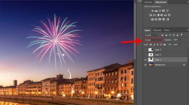 Photoshop layer screen