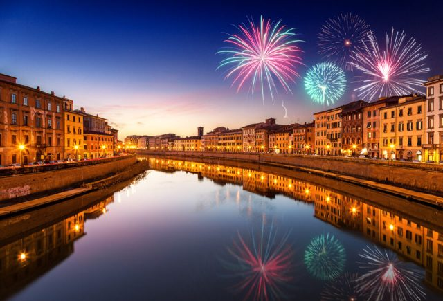 Final image of cityscape with fireworks blended in