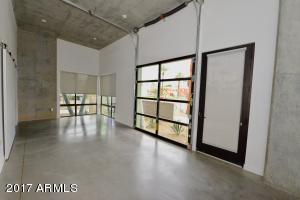 Exposed concrete ceilings, floors and walls.