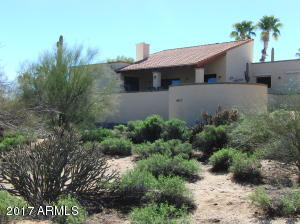 Natural desert backyard features privacy.