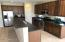 Kitchen island with raised counter