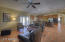 Great room with vaulted ceilings and open kitchen