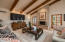Family Room with Hand Honed Beams