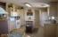 Kitchen with Island. Newer wood laminate floor