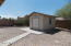 Storage shed with walk way