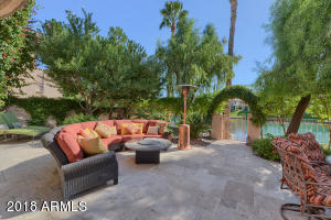 Backyard with entrance down to the private dock