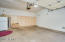 Large two car garage with built in shelving perfect for storage!