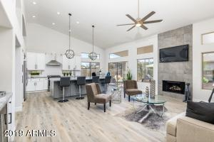 Sleek gas fireplace design with tv outlet/cable built in!