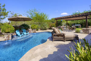 Covered Patio, Travertine decking, Built In BBQ, Ramada , Spa, Sport Ct, Grass Area