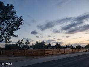 Front arena fenceline at sunset