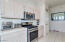 Kitchen gas stove, microwave, pantry