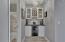 Custom Wine Bar with Quartz Counter Top, Shaker Cabinets, Beverage Fridge