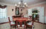 Dining Room with beautiful molding and wainscot