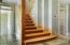 Custom wooden staircase to radiant heated floors with 4 zones
