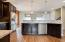 Large center island with 2 tier countertop option. Standard large 1 level island.