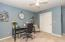 • New silver grey carpet ~ 2014 • Blue painted walls • Lighted ceiling fan • Closet with double sliding doors • Drapes are negotiable • Shelves do not stay