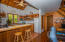 The kitchen leads to a open concept living and dining area