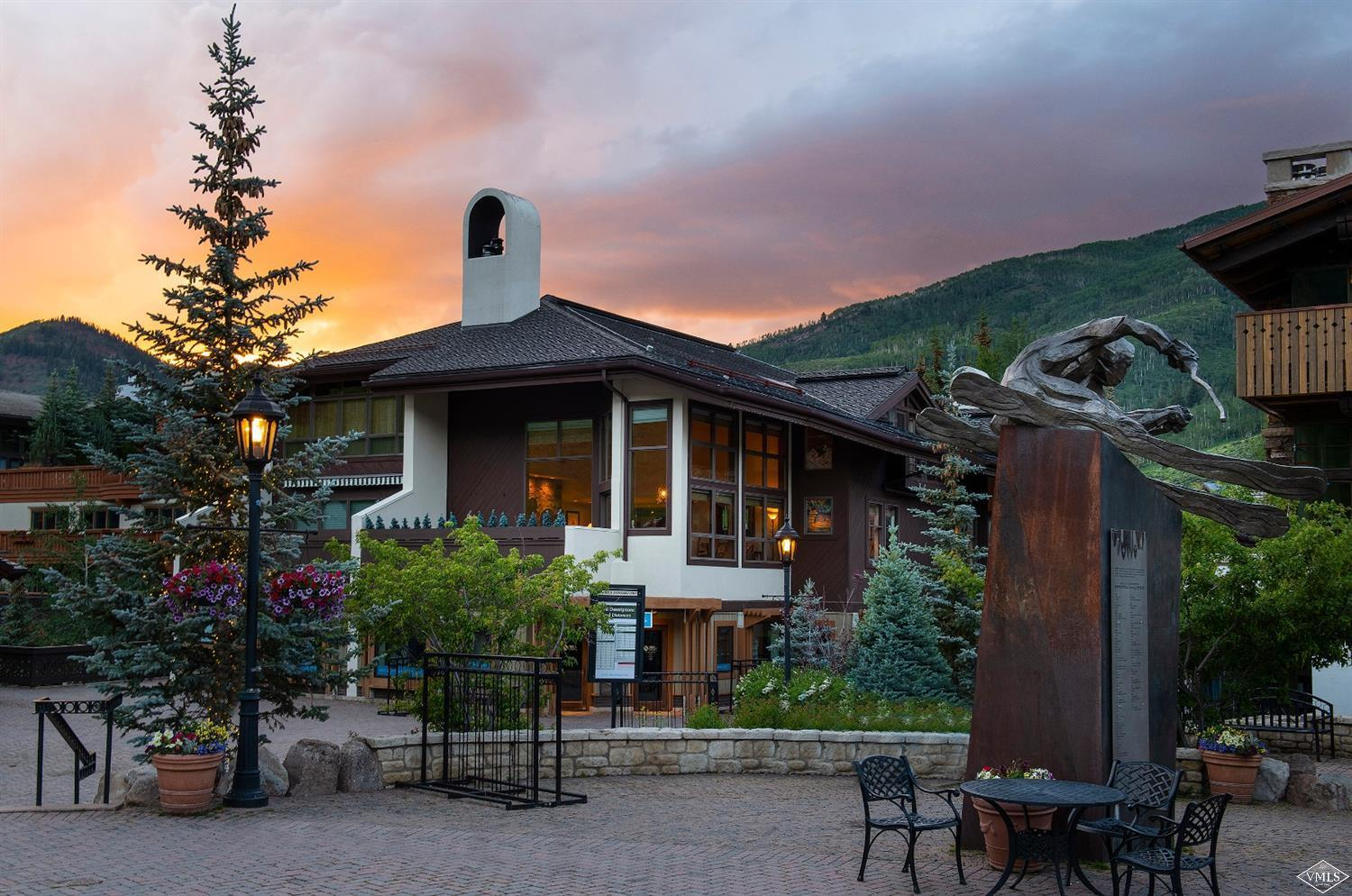 Rare opportunity to own in an exclusive and quiet building right at the base of Vail Mountain, mere steps to Gondola One and the shops and restaurants of Vail Village. Tremendous views of the ski slopes and the base area, this is 'beachfront' living in Vail. The residence features an open living area with vaulted ceilings for entertaining, large windows and deck which frame the view, assigned parking in an underground garage, use of guest parking, and ski locker.