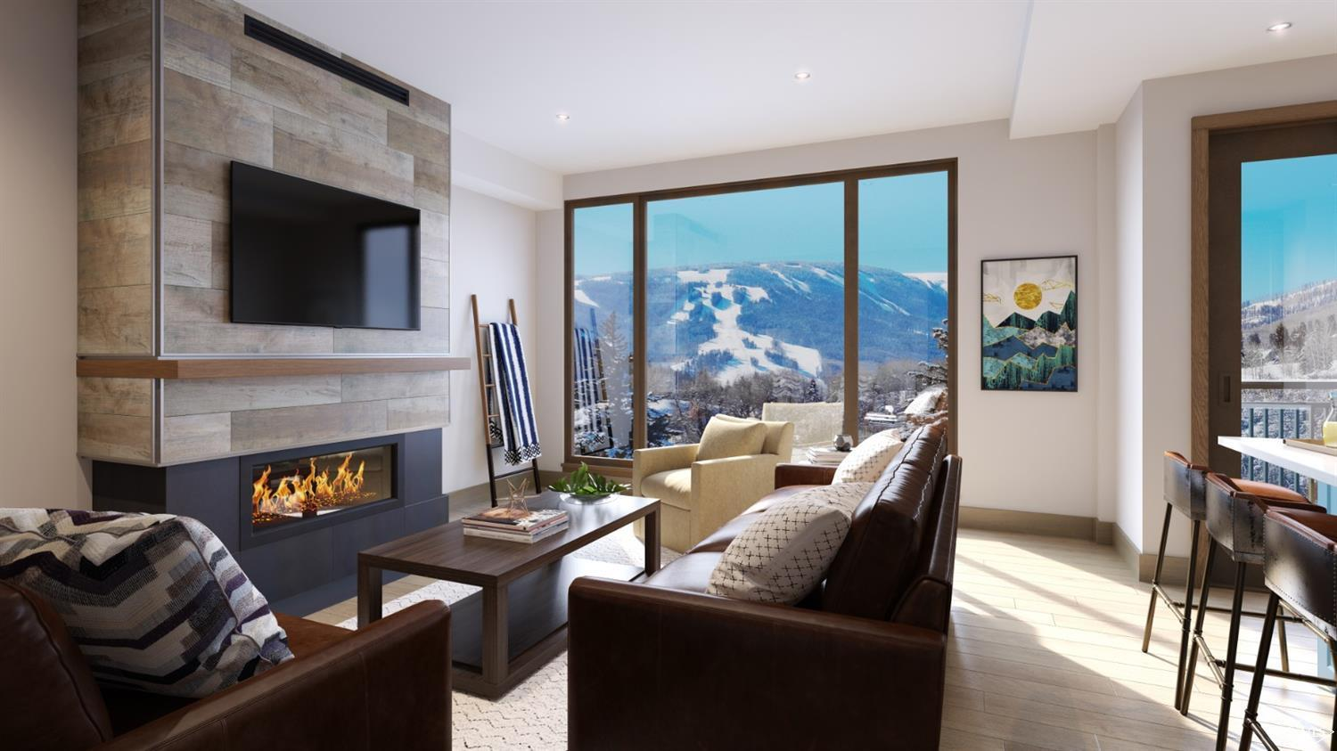 Brand-new. Construction is being wrapped up now to be able to enjoy this winter. This penthouse level residence offers vaulted ceilings, an open floor plan, timeless modern finishes and access to all amenities at the neighboring Westin. Located on the Eagle River bike path with easy access to skiing via Riverfront Gondola makes this location a vacationer's dream. Enjoy a generous primary bedroom with vaulted ceilings, its own balcony and a luxurious 5-piece bathroom. Riverfront Lodge will have its own front desk for easy owner and guest use, along with a lounge room, oversized hot tub, firepit and underground parking garage.