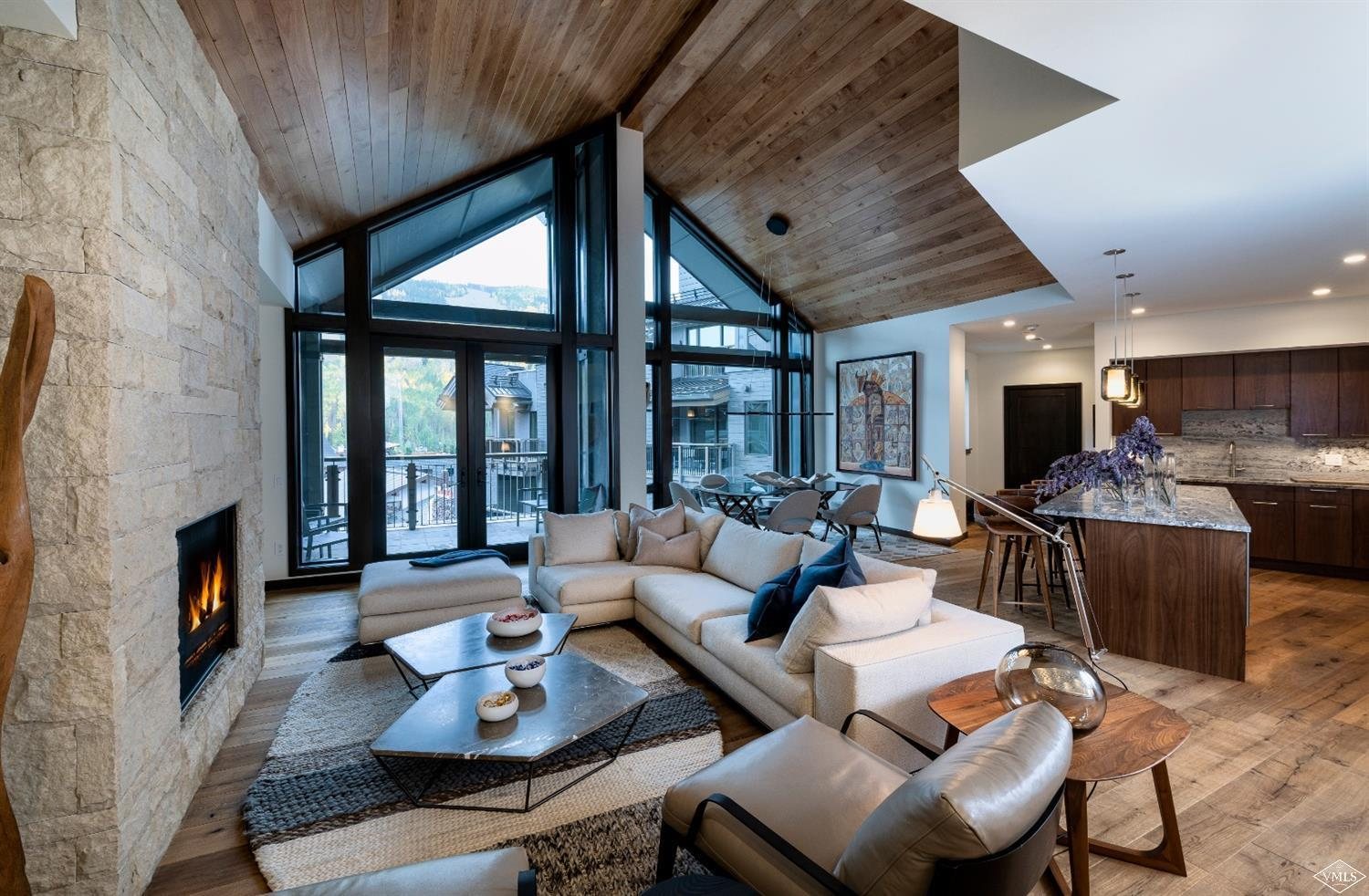 This top-floor penthouse features gourmet kitchen, mountain-contemporary finishes and vaulted ceilings with stunning views of Vail's ski slopes. Enjoy your 861+/- sq.ft. deck with private hot tub and 4 suites with luxury baths. Easy walk to the lift or ride in style on The Lion's electric vehicle powered by the on-site ski valet. Infinite-current lap pool, in and outdoor hot tubs, common recreation rooms and ample owners' parking/storage will set this Vail residence apart from the rest.
