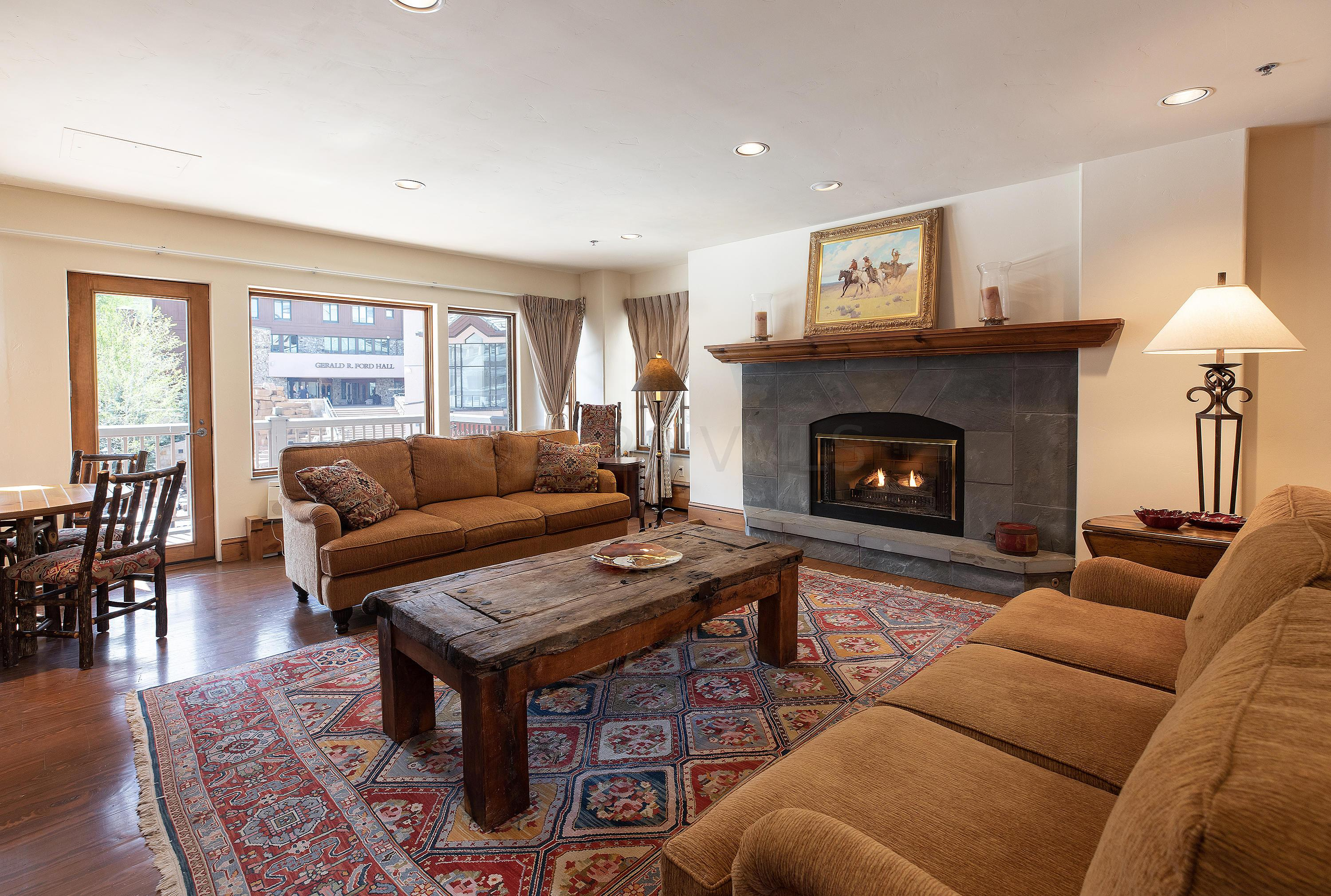 Located in the heart of Beaver Creek, this spacious residence is situated directly above the ice-skating rink with immediate access to all the Village amenities.  Restaurants, shops, ski school and the acclaimed Vilar Center venue can all easily be accessed within minutes. Easy ski-in/ski-out access right out the back of the building to the Elk Horn Chairlift as well as quick access to the park along the creek complete with a children's playground and picnic area. Listen to the soothing sounds of the year-round 'Beaver Creek' out all of the bedrooms. Private balcony to savor the southerly views and watch the highly frequented fireworks from your deck. Additional amenities include; underground heated parking, garage storage and 2 additional closet storage spaces, private and secure elevator access direct to the garage or village level. Recently painted and new carpet installed. Sold furnished.
