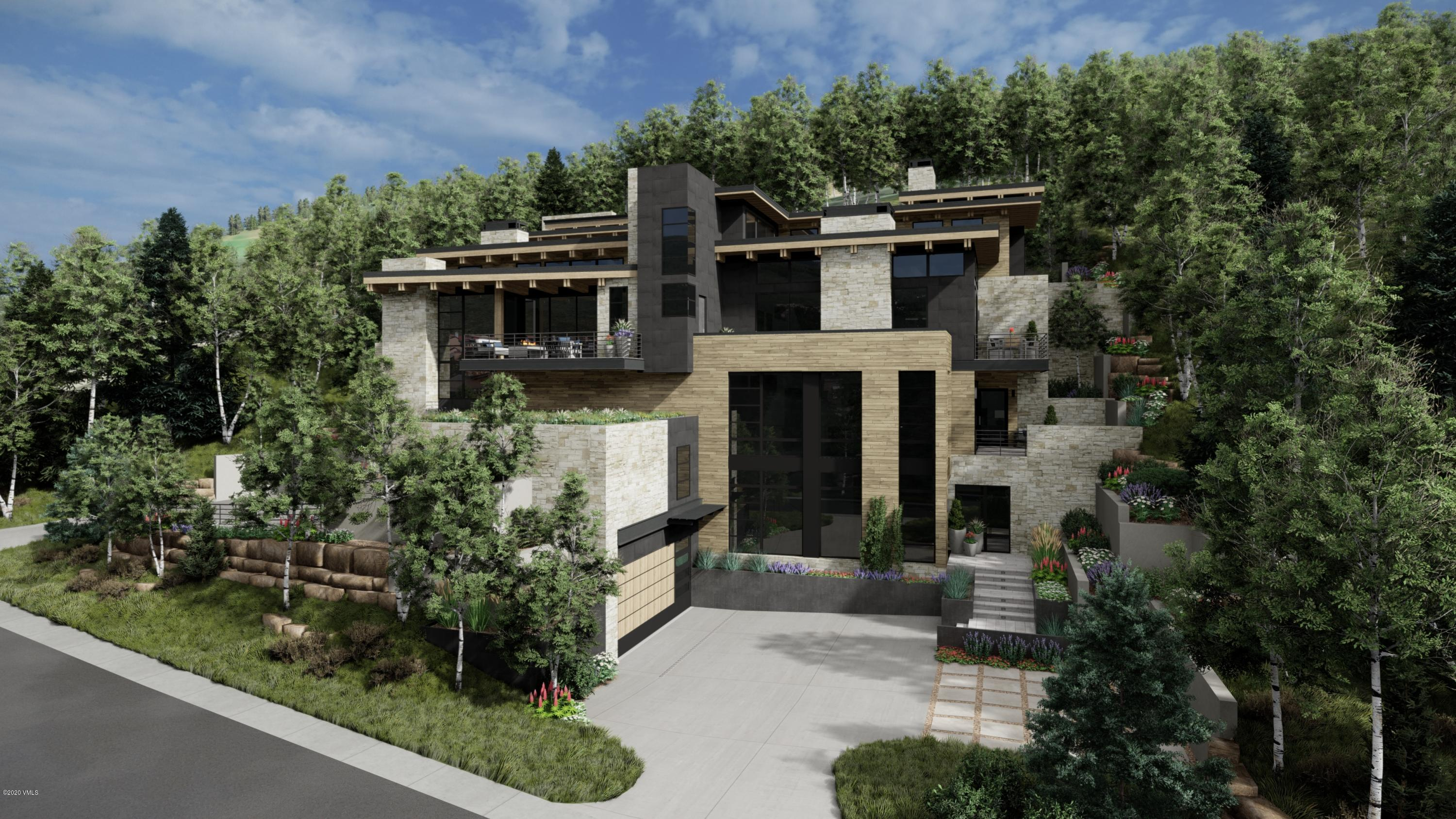 Rare opportunity to own a new construction, mountain contemporary home on the highly coveted Forest Road in Vail. Designed by Kyle Webb and built by Paragon Homes, Inc., this home offers unparalleled luxury, craftsmanship and sophistication. This modern mountain retreat features a warm aesthetic with elements of wood and stone used throughout and defined clean lines. Grand glass walls harness breathtaking views of the surrounding mountains, woodland and village of Lionshead. Located approximately 500 feet from the Born Free ski run, the location is prime especially for those that love tree skiing or for those who wish to briefly ski down to the  Lionshead Gondola which is only about 600 feet away. Encompassing 5,995 SF of living space, there are five bedrooms, six bathrooms and several outdoor patios.  With the driveway and all deck surfaces heated efficiently, all will enjoy the beauty of the outdoor dining area year-round. The refined kitchen with gorgeous Italian cabinetry and state of the art appliances open up to the living and dining areas. With elevated views, sun filled interiors, this open floorplan masterfully accommodates for entertaining and family fun. Offering four levels of luxurious living, every room is an experience in and of itself with spectacular attention to detail. The main-level master bedroom was designed to provide ultimate privacy, while still encapsulating the beauty of the outdoor landscape with its own spacious patio and surrounding aspen trees. After a day of skiing Vail's world-famous powder or hiking in the White River National Forest, drop off your gear in the mudroom outfitted with built-in ski racks, cabinets, boot dryers, and shelving before heading upstairs for endless respite options. Nestled mountainside, enjoy the mountain-chic architecture that is luxurious, yet inviting for your family and guests to enjoy. Estimated completion January 2022. Please view mls-672.ForestRoadLuxury.com for complete details. Note, the taxes & exa