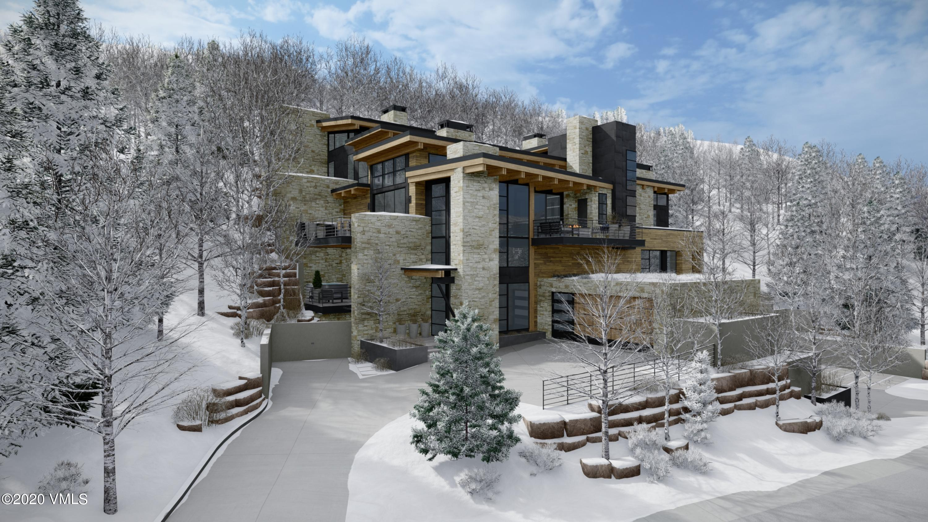 Rare opportunity to own a new construction, mountain contemporary home on the highly coveted Forest Road in Vail. Designed by Kyle Webb and built by Paragon Homes, Inc., this home offers unparalleled luxury, craftsmanship and sophistication. This modern mountain retreat features a warm aesthetic with elements of wood and stone used throughout and defined clean lines. Grand glass walls harness breathtaking views of the surrounding mountains, woodland and village of Lionshead. Located approximately 500 feet from the Born Free ski run, the location is prime especially for those that love tree skiing or for those who wish to briefly ski down to the Lionshead Gondola, about 600 feet away. Encompassing 4,454 square feet of living space, there are four bedrooms, five bathrooms and several outdoor patios.  With the driveway and all deck surfaces heated efficiently, all will enjoy the beauty of the outdoor dining area year-round. The refined kitchen with gorgeous Italian cabinetry and state of the art appliances open to the living and dining areas. With elevated views, sun-filled interiors, this open floorplan masterfully accommodates for entertaining and family fun. Offering four levels of luxurious living, every room is an experience in and of itself with excellent views and attention to detail. The master bedroom was designed to provide ultimate privacy while still encapsulating the beauty of the outdoor landscape with its own spacious patio and surrounding aspen trees. Enter the mudroom after a day of skiing Vail's world-famous powder or hiking in the White River National Forest. Outfitted with built-in ski racks, cabinets, boot dryers and shelving, you can easily organize gear and equipment for family & friends. Nestled in the mountainside, enjoy this new mountain-chic architecture that is luxurious, yet inviting for your family & guests to enjoy. Estimated completion January 2022.Please view mls-670.ForestRoadLuxury.com for complete details. Note, the taxes & exact acreage will change once subdivided.