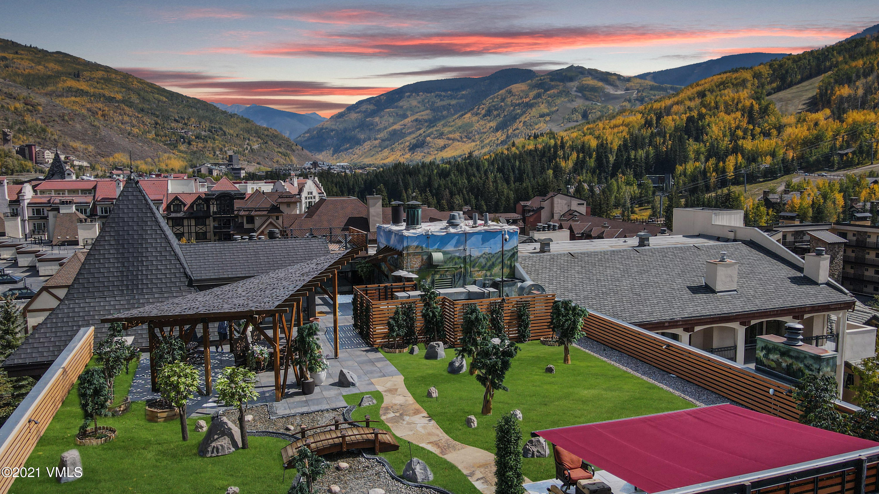 Without a doubt the most opulent penthouse in Vail, Colorado. This magical residence has been privately owned for over 40 years and is an absolute dream for the terrace aficionado. Flooded with light and an expansive open concept multi-level floorplan, this home set atop the Vail Marriott is the epitome of Colorado Luxury Living. Boasting 4 bedrooms, a separate family and home theater room, air conditioning, 2 large private balconies, 2 fireplaces, and 2 coveted parking spaces one can enjoy the full services of this luxury resort. In a town known for special and exceptional properties this is truly a rare offering! The unprecedented 6,000 square foot private rooftop terrace, featuring a private hot tub, a putting green, meandering water feature, fire pit and alfresco dining boasts unobstructed panoramic views of Vail mountain while nestled in your own secluded oasis. This rare penthouse also features access to all of the lavish amenities of the Marriott Luxury Resort in the heart of timeless Vail. Unsurpassed luxury living.
