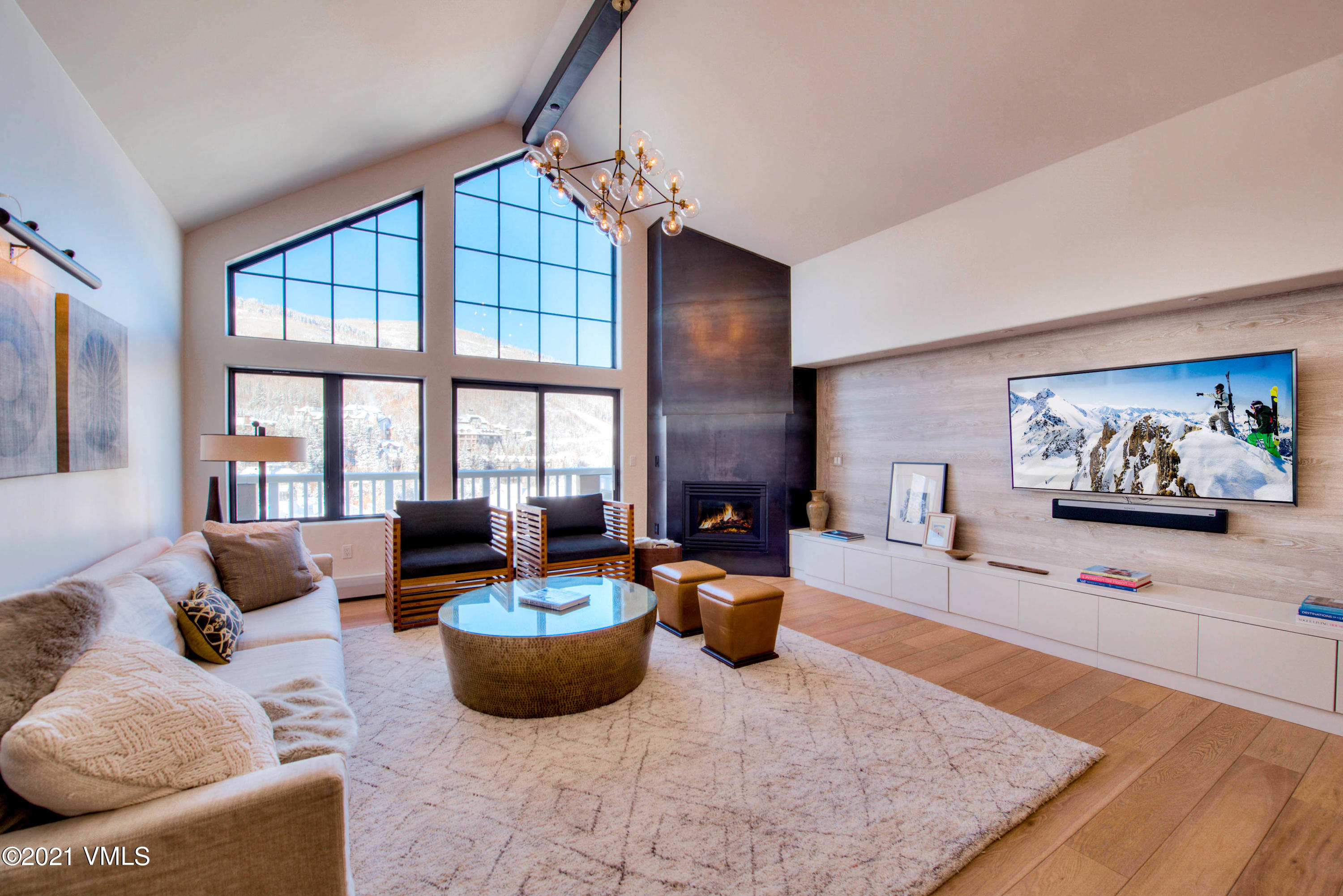 Luxury Beaver Creek penthouse has floor to ceiling windows capturing expansive mountain and ski slope views.  Offered completely turn key including designer furnishings, artwork, accessories, linens, and kitchenware.  Beautiful remodel with high end finishes throughout. Located in the heart of Beaver Creek Village and situated less than 200 yards to slopes and some of the finest skiing in North America.  Beaver Creek's children's ski school is world-renowned and the mountain offers up terrain that will encourage the novice and challenge the most experienced of skiers. Once you are checked into St. James Place forget your car as the Village has every amenity imaginable all within a very short walk through the European style village that includes an outdoor ice rink and the magnificent Vilar Center for the performing arts. Dining is also a short walk away with cuisine for everyone, from pizza and burgers to fine dining. World-class spa treatment is also a short walk away with two beautiful spas to choose from. Should you decide to relax at home after a day on the slopes the St. James Place offers several hot tubs, both indoors and out, a fitness room and of course you may very well choose to just sit by your fireplace and reflect on another perfect day in paradise.  Unique property where you will enjoy superior service and exceptional creature comforts in the heart of the Rockies.  HOA fee covers everything except electric averaging $30/month.