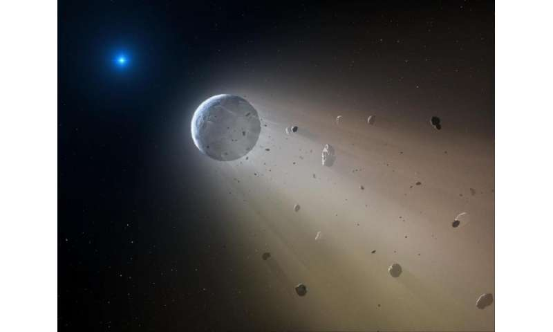 In this artist's conception, a tiny rocky object vaporizes as it orbits a white dwarf star. Slowly the object will disintegrate, leaving a dusting of metals on the surface of the star. Credit: CfA/Mark A. Garlick   Read more at: http://phys.org/news/2016-02-asteroid-fragments-drifting-distant-white.html#jCp