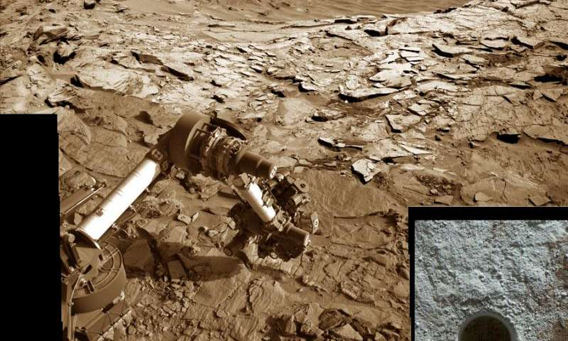 Curiosity rover reached out with robotic arm and drilled into 'Lubango' outcrop target on Sol 1320, Apr. 23, 2016, in this photo mosaic stitched from navcam camera raw images and colorized. Lubango is located in the Stimson unit on the lower slopes of Mount Sharp inside Gale Crater. MAHLI camera inset image shows drill hole up close on Sol 1321. Credit: NASA/JPL/MSSS/Ken Kremer/kenkremer.com/Marco Di Lorenzo   Read more at: http://phys.org/news/2016-05-curiosity-cores-hole-lubango-fracture.html#jCp