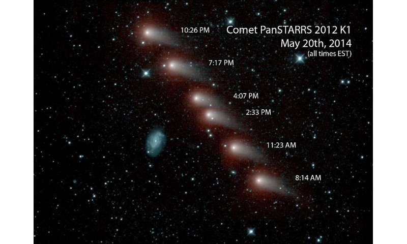 NEOWISE series of infrared images of comet C/2012 K1 (PanSTARRS) on May 20, 2014. Credit: NASA/JPL