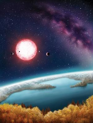 The artist's concept depicts Kepler-186f, the first validated Earth-size planet orbiting a distant star in the habitable zone—a range of distances from a star where liquid water might pool on the surface of an orbiting planet. The discovery of Kepler-186f confirms that Earth-size planets exist in the habitable zone of other stars and signals a significant step closer to finding a world similar to Earth. The artistic concept of Kepler-186f is the result of scientists and artists collaborating to help imagine the appearance of these distant worlds. (Danielle Futselaar)