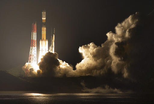 Japan's H-IIB rocket with a capsule called Kounotori, or stork, lifts off at the Tanegashima Space Center in Tanegashima, southern Japan, Friday evening, Dec. 9, 2016. The Japanese capsule contains nearly 5 tons of food, water and other …more Read more at: http://phys.org/news/2016-12-japan-much-needed-space-station.html#jCp