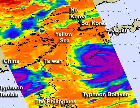 NASA sees Typhoon Bolaven dwarf Typhoon Tembin