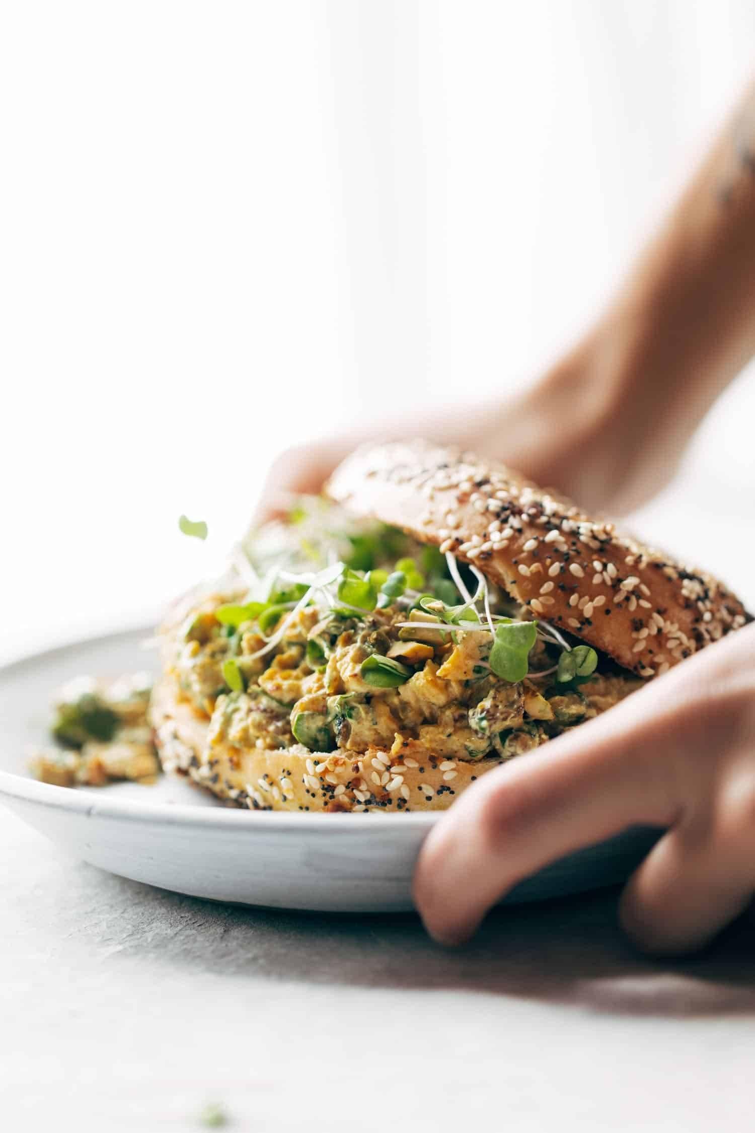 Curry Chicken Salad: healthy and super-yum. Just a few clean ingredients, like curry powder, chicken, golden raisins, pistachios, honey, and Greek yogurt. | pinchofyum.com