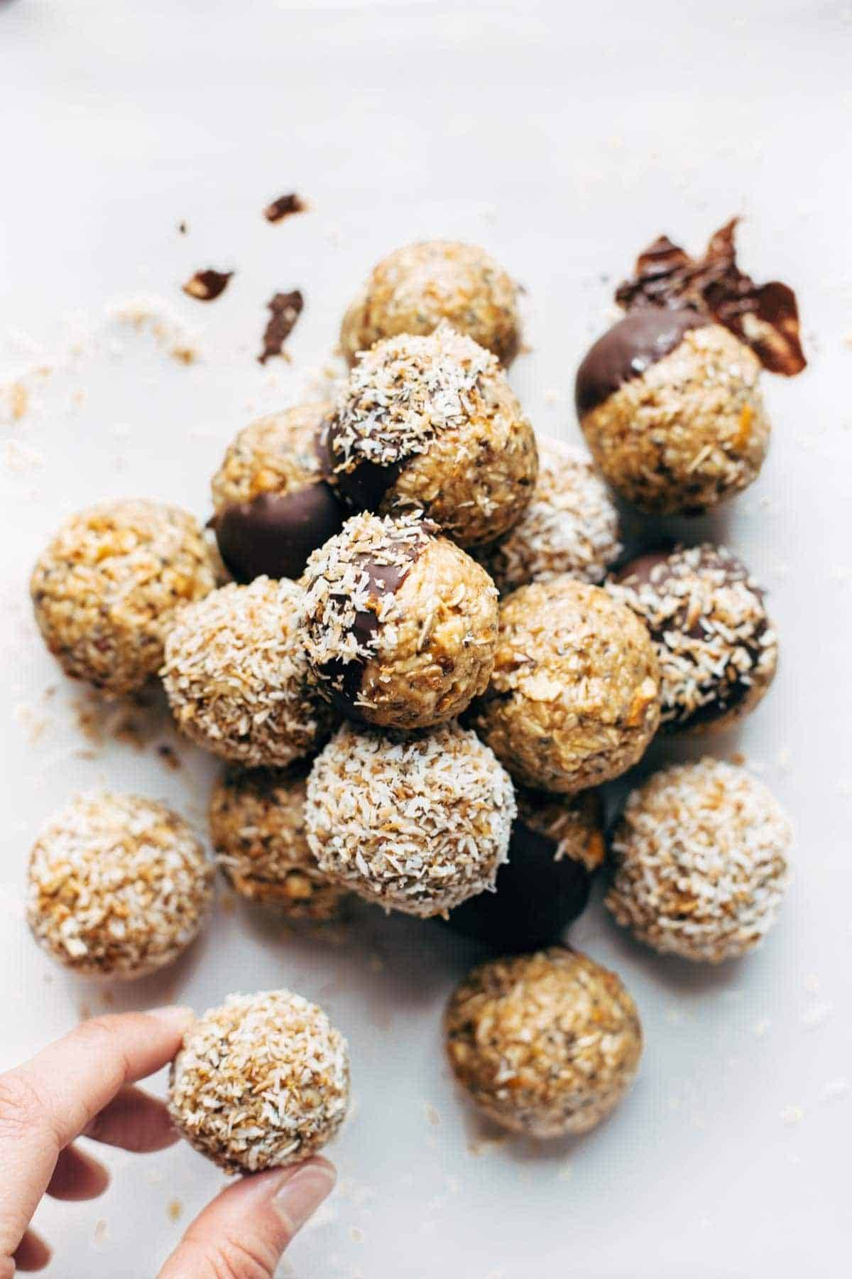 Energy Bites! Easy no-bake recipe with real food like oats, chia seeds, peanut butter, and coconut. Stays soft and yummy for weeks in the fridge! | pinchofyum.com
