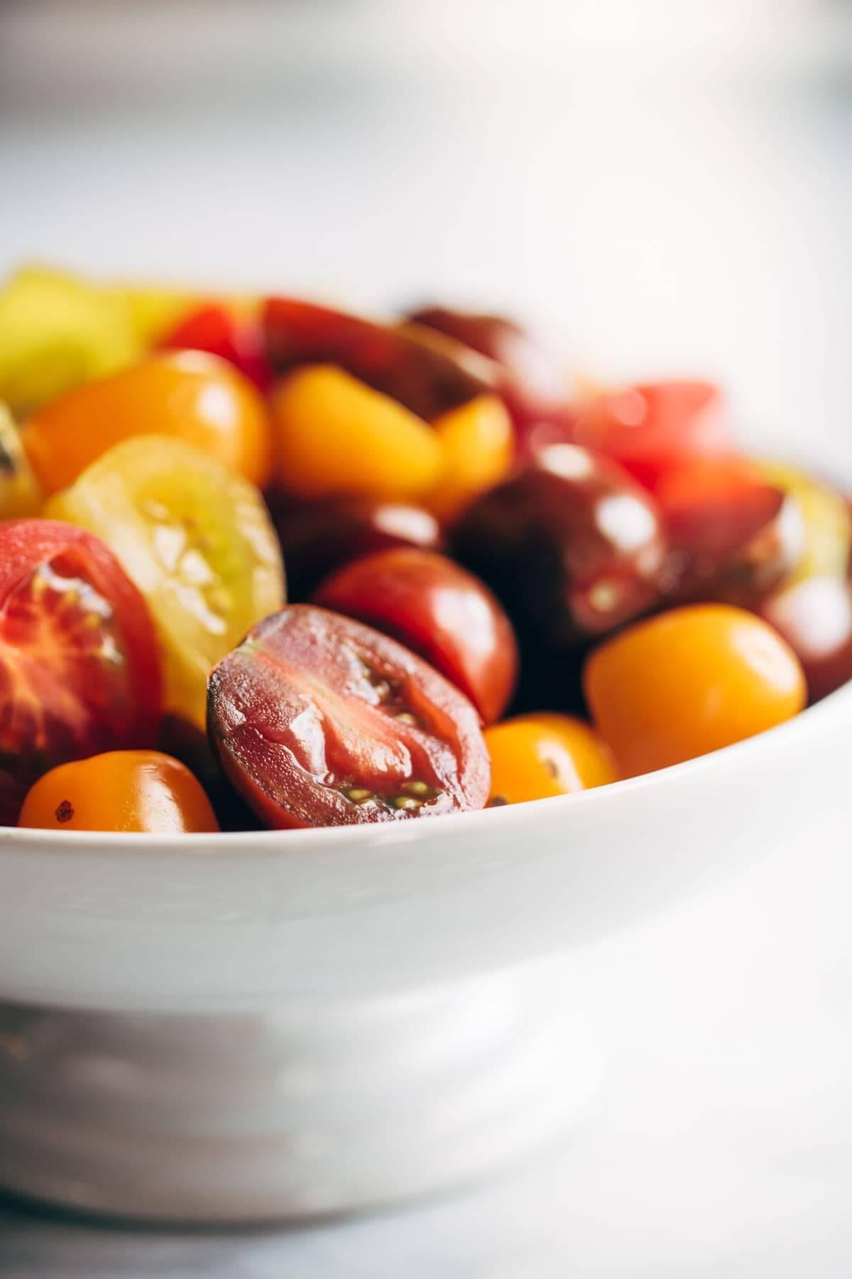 Tomatoes for Capellini Pomodoro | pinchofyum.com