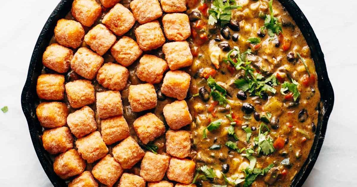 Southwest Sweet Potato Tater Tot Hotdish Recipe Pinch Of Yum