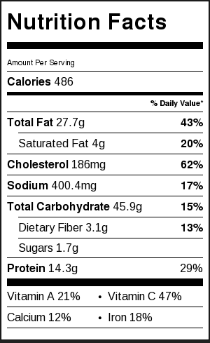 Green Shakshuka Nutrition Label