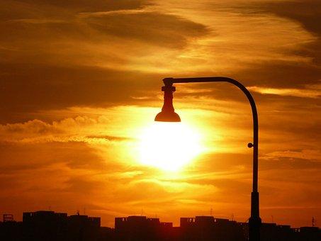 Lamp, Light, Sun, Sunlight, City, Sky