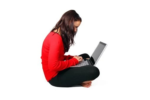 Computer, Female, Girl, Isolated, Laptop