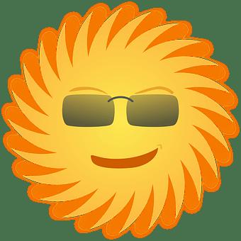 Sol, Solglasögon, Leende, Gul, Strålar