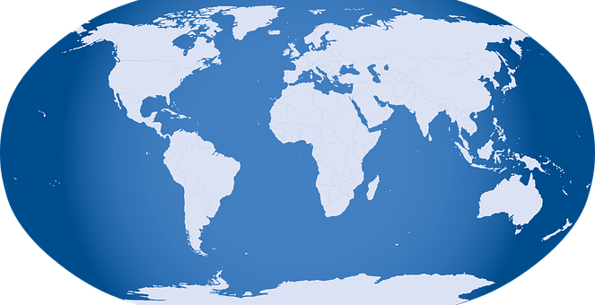 A blue word map showing the continents in white
