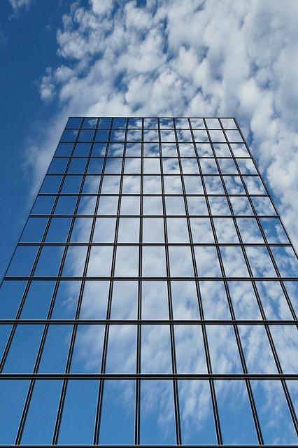 Free Photo Skyscraper Clouds Reflect Mirror Free