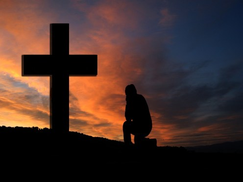 クロス, サンセット, シルエット, 人間, ひざまずいて, 膝, 祈る, 祈り, 献身, 信仰, 宗教