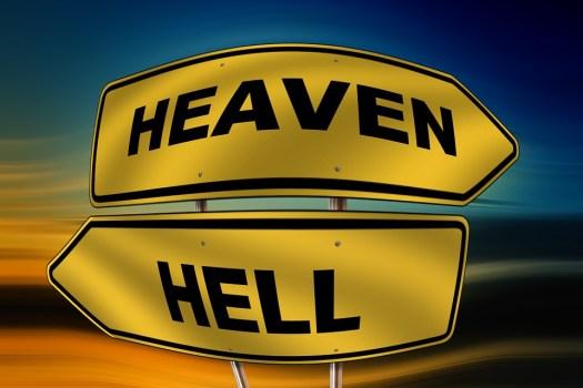 Cielo, Inferno, Cartello Stradale, Direzione, Destra
