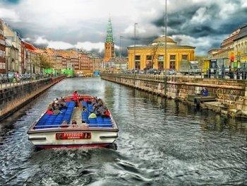 Copenhague, Danemark, Canal, Bateau