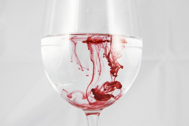 Um copo de, Água, Cor, Tinta, Sangue, Vermelho, Dissolvido