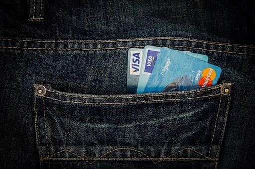 お金, カード, ビジネス, ポケット, ジーンズ, ビザ, マスターカード